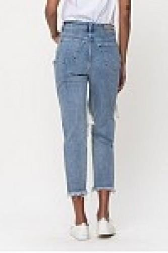 High Rise Distressed Cropped Light Skinny