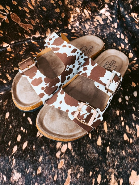 Brown Cowprint Birk Dupes