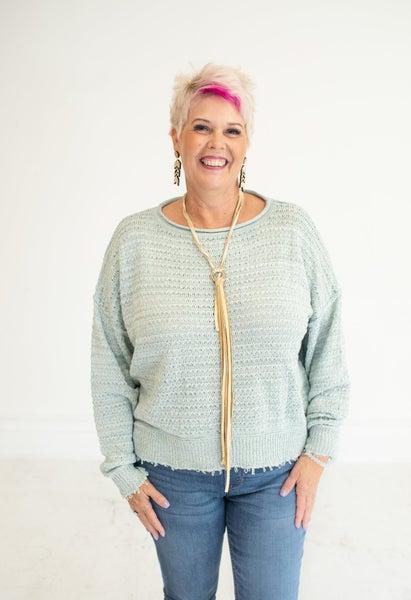 Seafoam Fray Hem Knit Sweater
