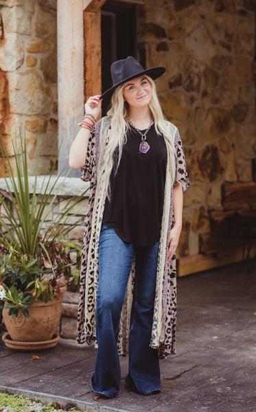 Cheetah Mixed Print + Lace Kimono