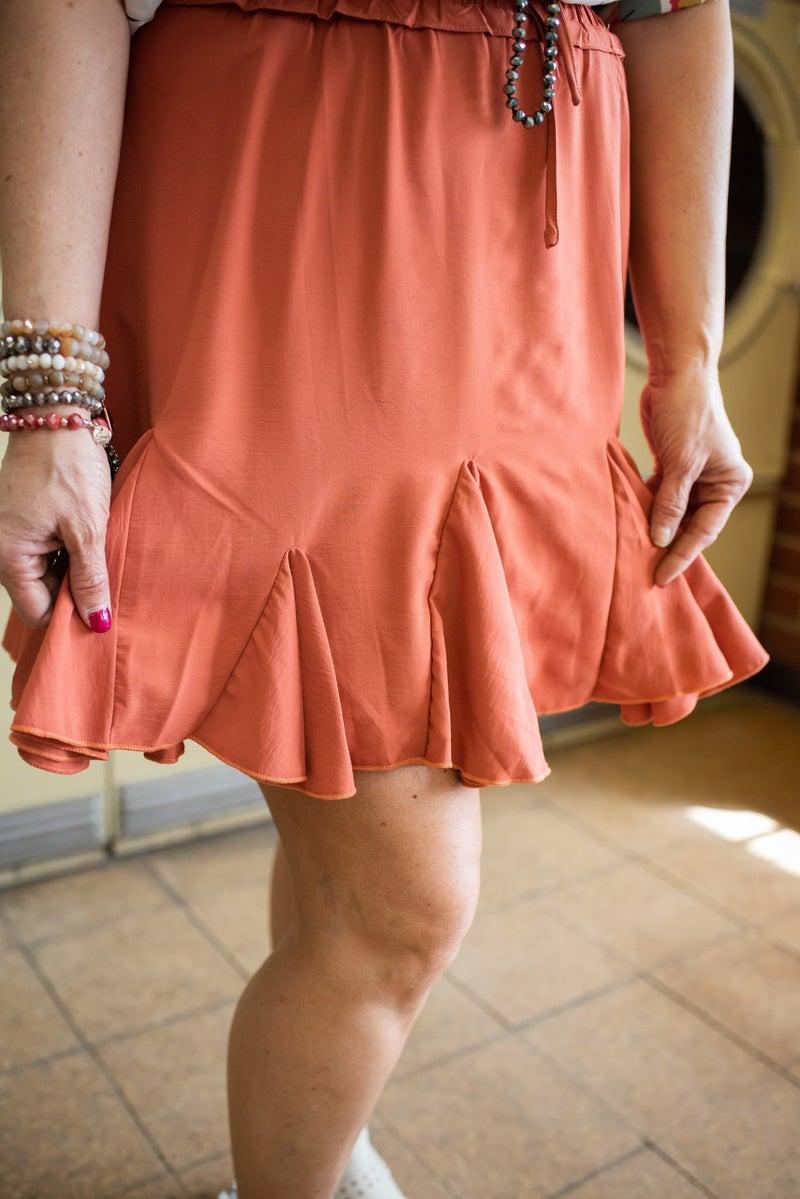 Terra Cotta Ruffle Skirt