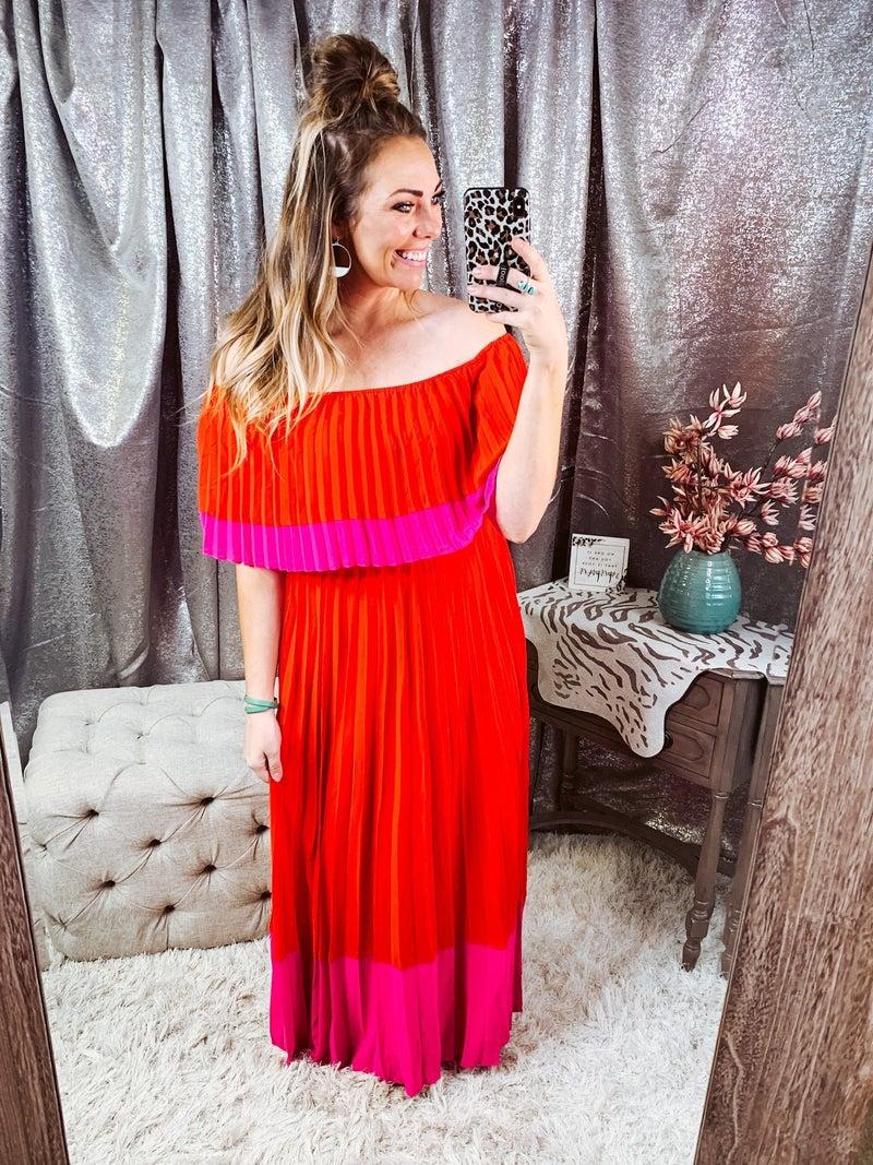 Orang & Pink off the Shoulder Dress