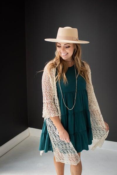Beige Lace & Crochet Bell Sleeve Cardigan