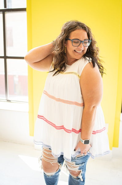 White Tiered Tank w/ Colored Crochet Detail