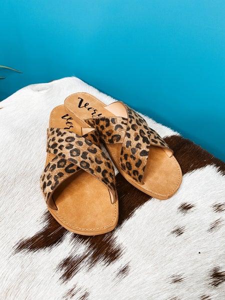 Hair On Leopard Print Cross Sandal