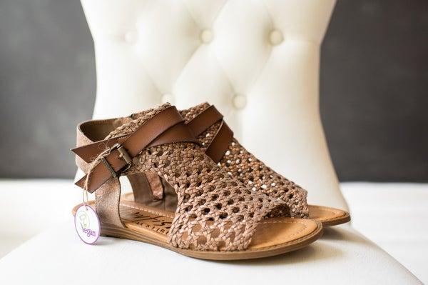 Cut Out Braided Sandal w/ Buckle