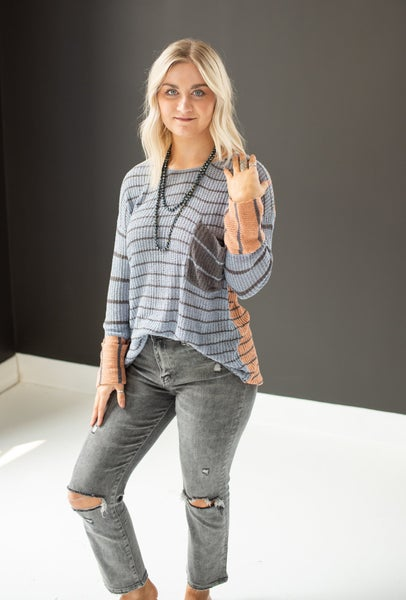 Lt. Blue & Tangerine Stripe Sweater Top with Front Pocket