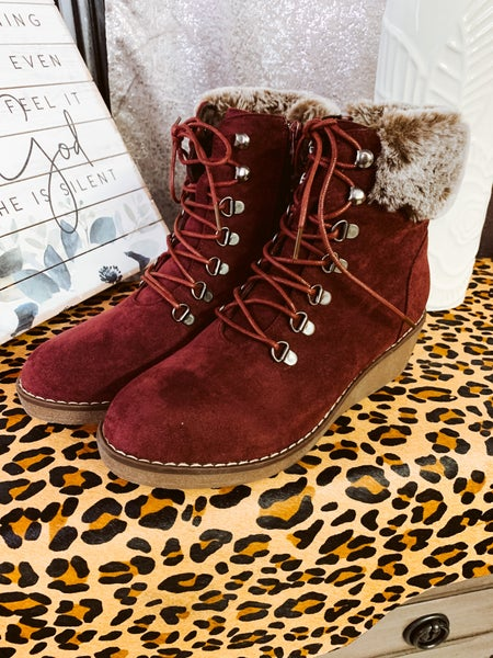 Burgundy Lace Up Wedge Boot