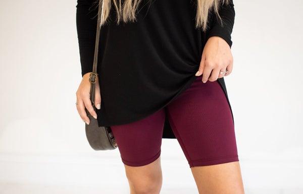 Burgundy Biker Shorts with Wide Waistband
