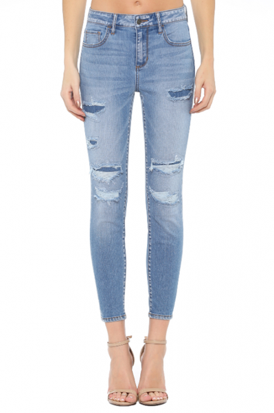 Mid Rise Distressed Cropped Skinny