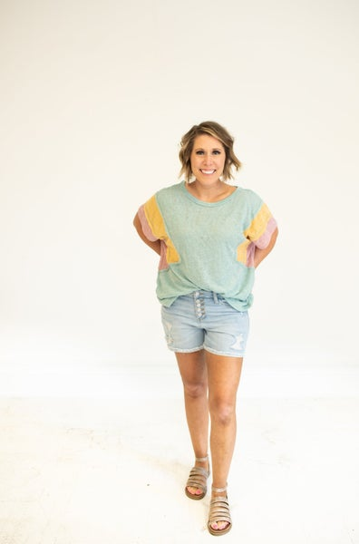 High Waisted Front Button Distressed Shorts