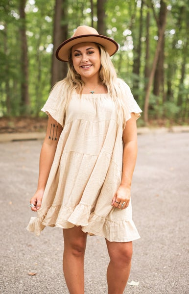 Oatmeal Square Neckline Ruffle Tiered Dress