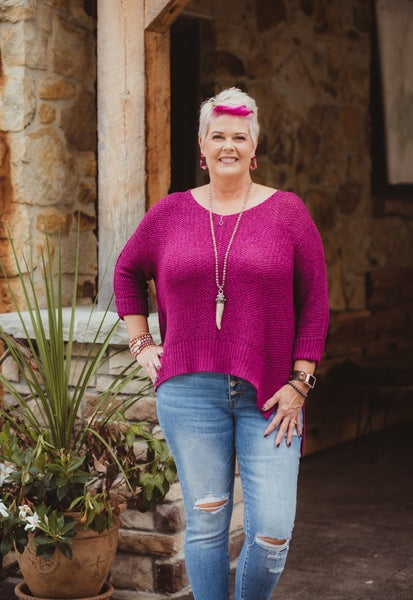 Magenta 3/4 Sleeve High Low Sweater with Folded Cuffs