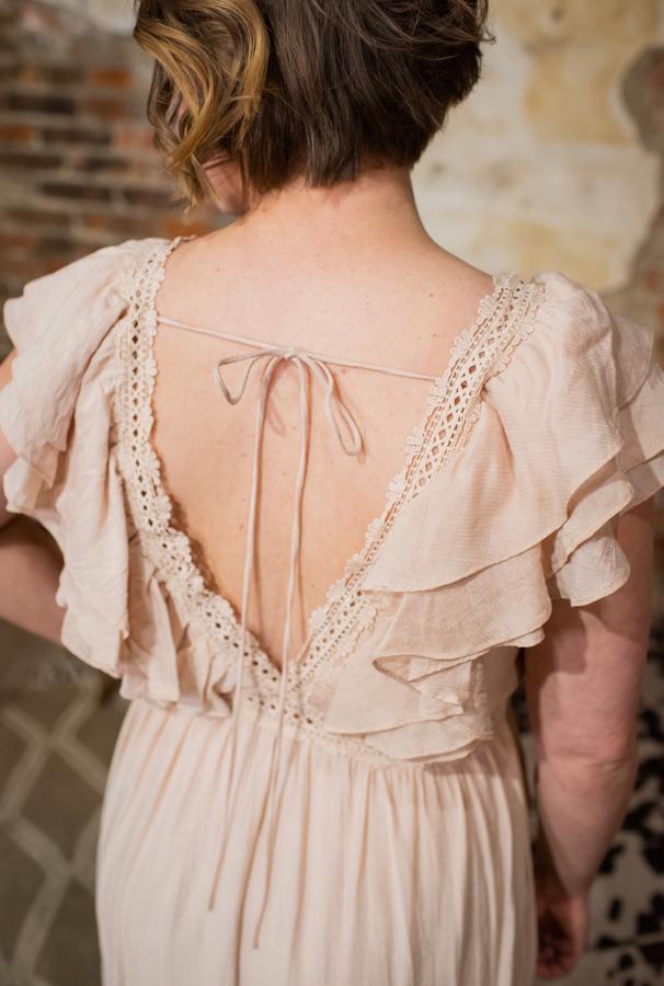 Crochet & Ruffle Detail Long Dress