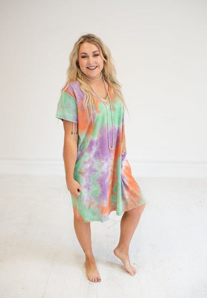 Tie Dye Cotton Jersey Dress