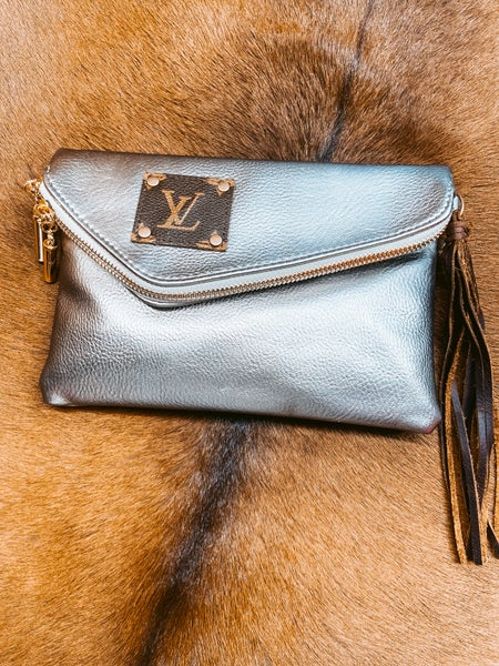 Gunmetal Leather Upcycled LV Wristlet