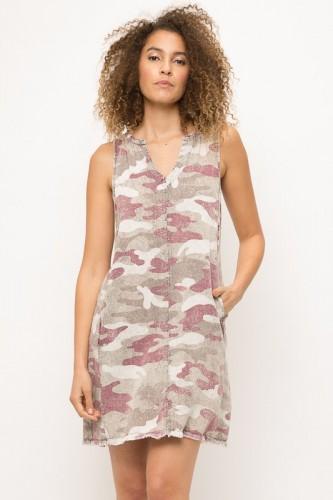 Mauve Camo Dress w/ Raw Hem