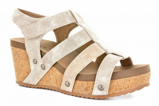 Gold Multi Strap Wedge