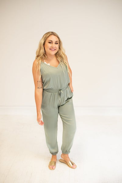 Spicy Sage Jumpsuit with Pockets