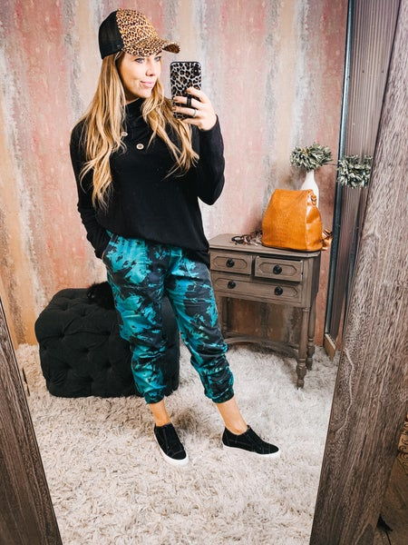 Teal & Gray Tie Dye Joggers