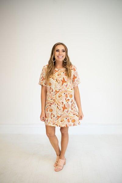 Orange, Coral, & Sage Printed Dress