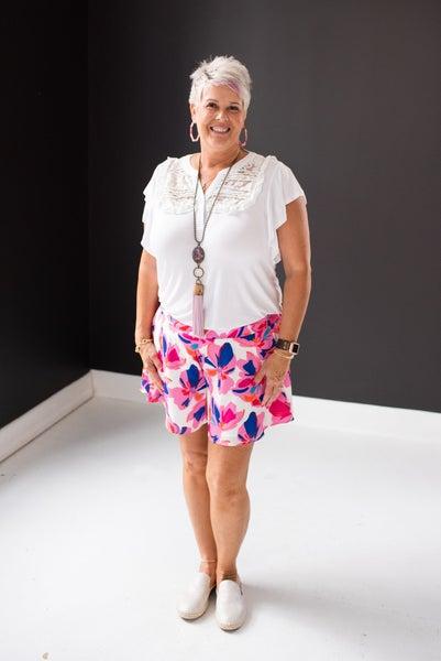 Royal & Pink Floral Print Swing Shorts