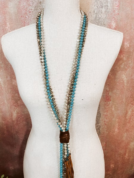 Multi Bead Turq Necklace w/ Leather Wrap