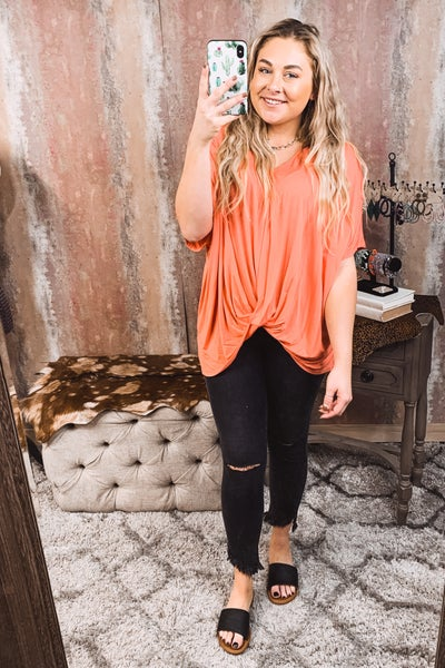 Front Knot Hot Coral Top
