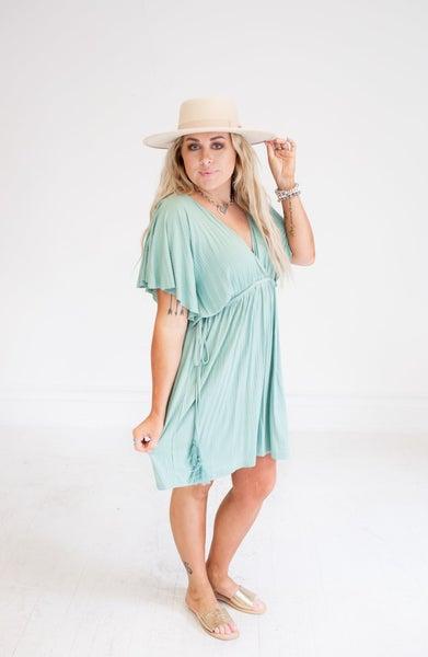 Sage Ribbed Drawstring Babydoll Dress