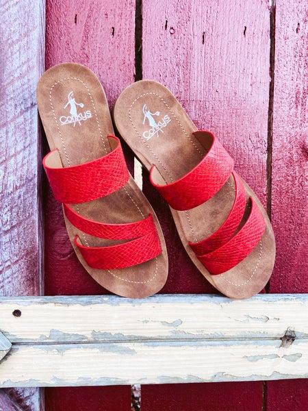 Triple Strap Red Snake Slide On Sandal