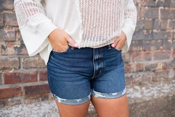 High Rise Double Fold Shorts