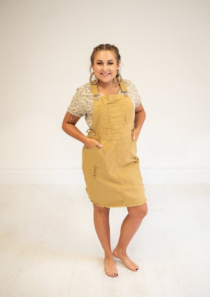 Camel Distressed Overall Skirt
