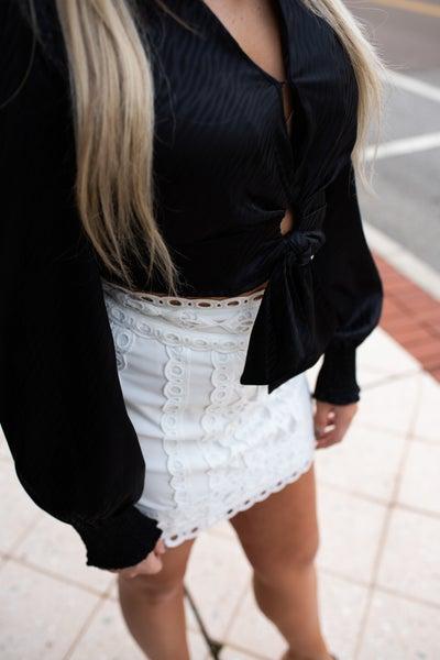 White Lace Overlay Mini Skirt