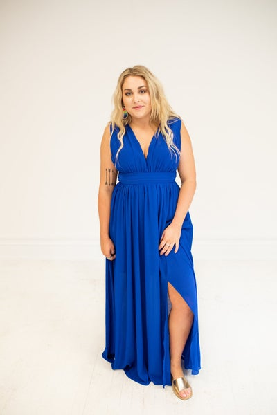 Royal Nights Sleeveless Front Slit Maxi Dress with Side Zipper