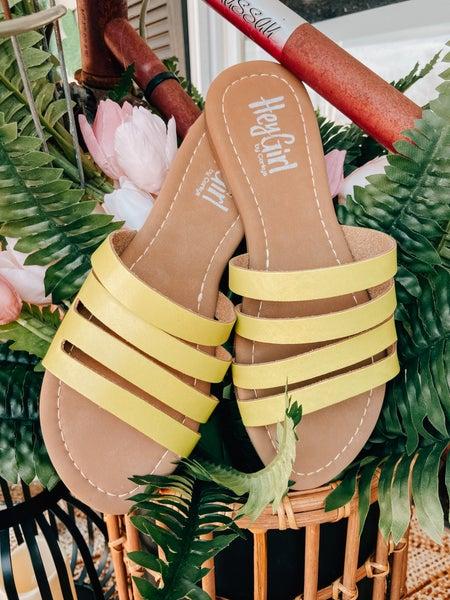 Four Strap Slide On Yellow Sandal