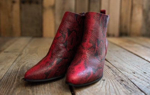 Red Snakeprint Boot