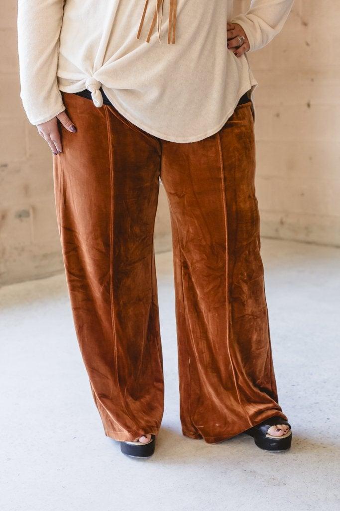 Velvet Wide Leg Camel Pant
