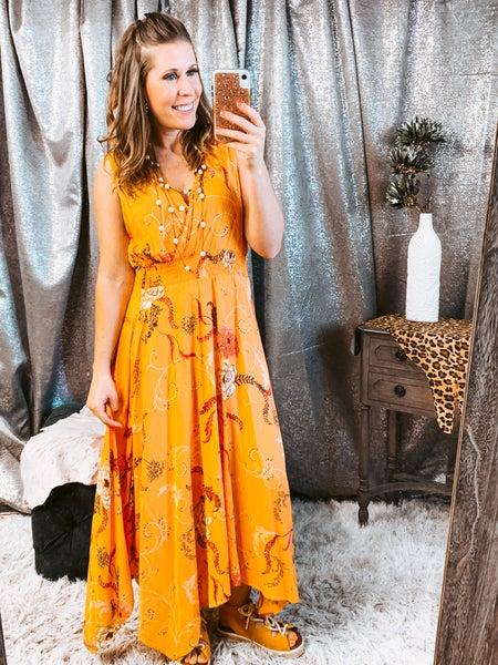 Peach V Neck Dress w/ Smocking