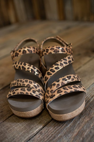 Gold Leopard Strappy Wedge