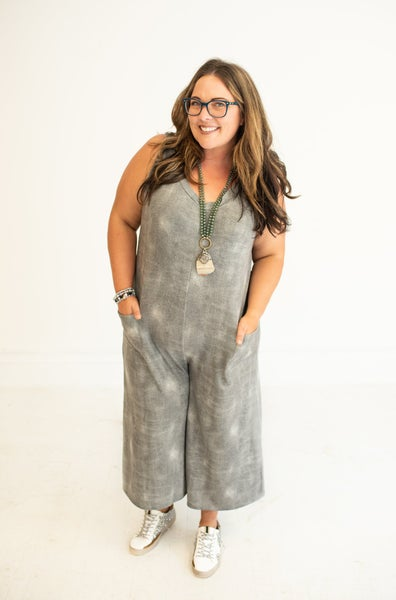 Charcoal Burnout French Terry Jumpsuit