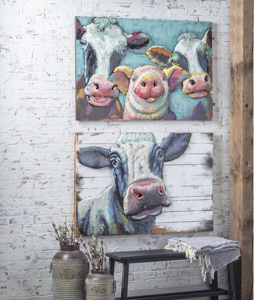 3 Dimensional Cow & Pig Wall Art