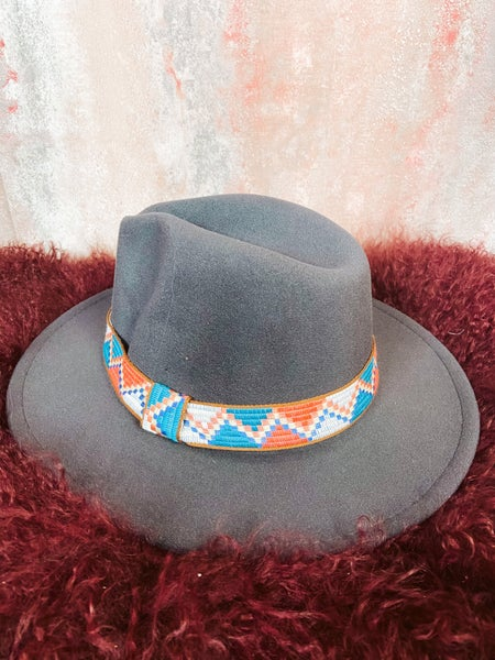 Gray Aztec Accent Felt Hat