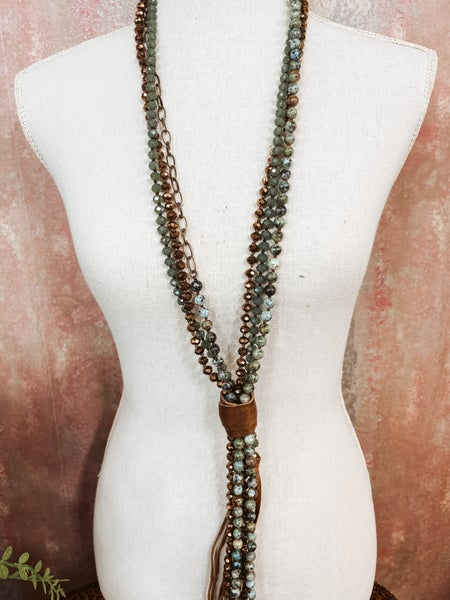 Mixed Media Green Toned Multi Bead Necklace