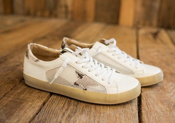 White & Snake Leather Star Sneaker