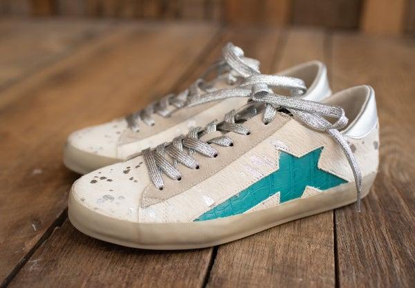 White Pony + Turq Leather Sneaker