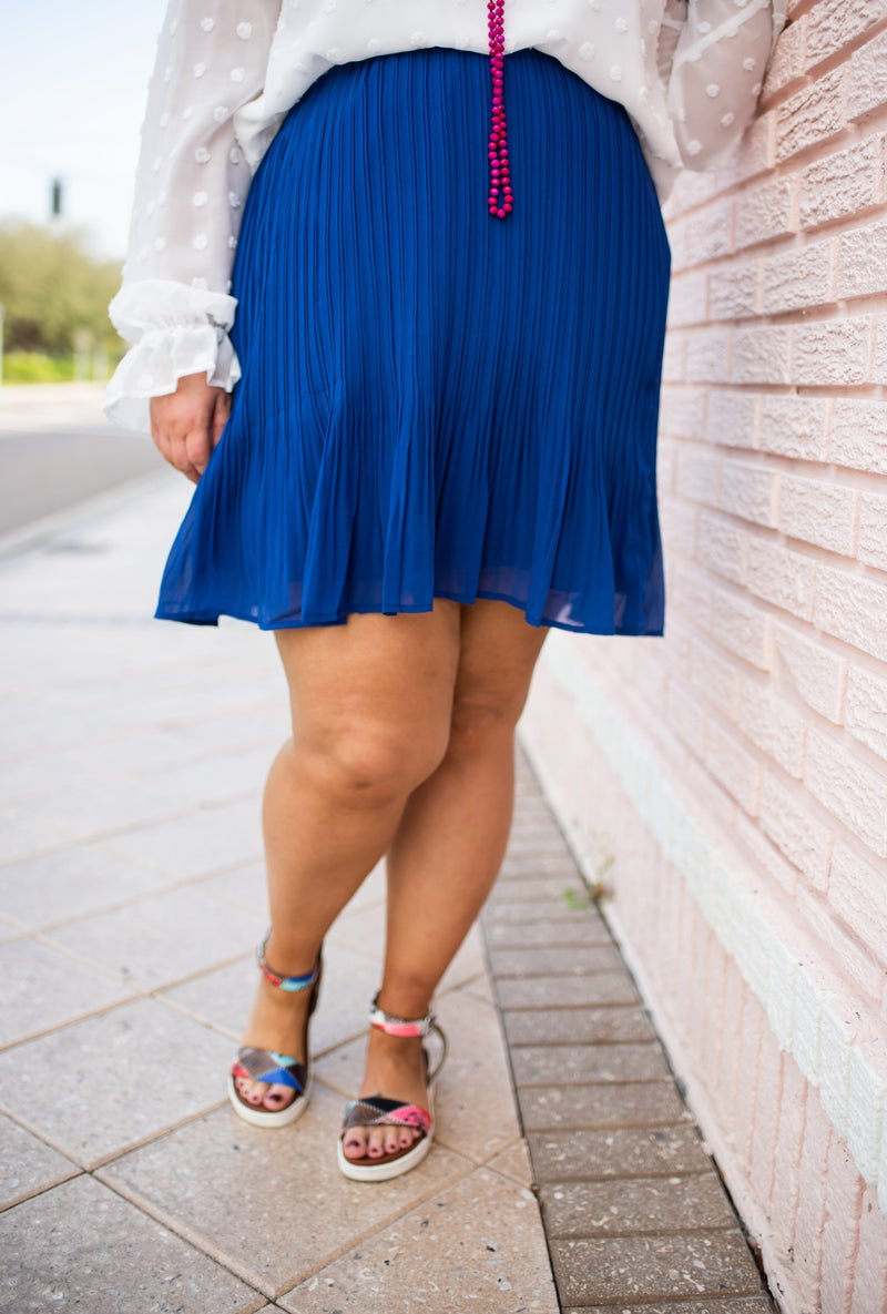 Royal Blue Pleated Short Skirt