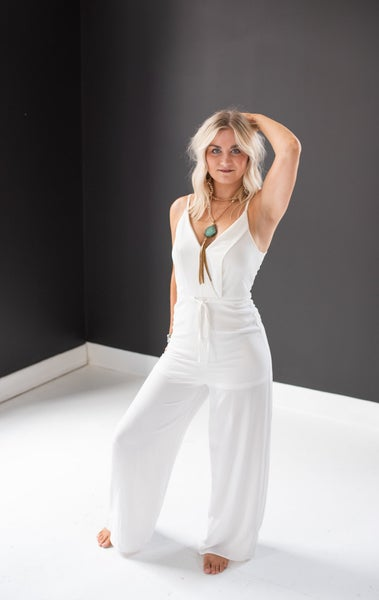 Like a Lady White Surplice Jumpsuit with Waist Tie Detail