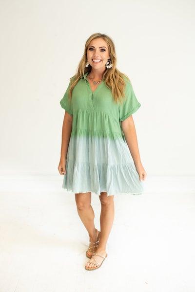 Sage Green Linen Dip Dyed Dress