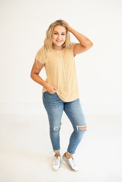 Mustard & Ivory Stripe Top with Open Knot Back