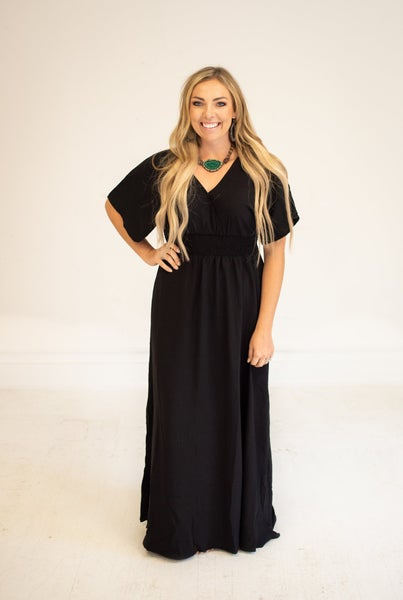 Black Woven Wrap Maxi with Smocked Waist